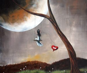 girl, moon, and love image