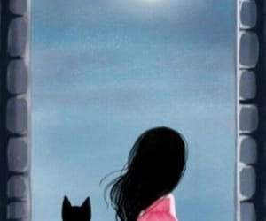 cat, art, and moon image