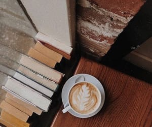 books, brown, and cafe image