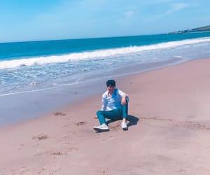 Seventeen, mingyu, and beach image