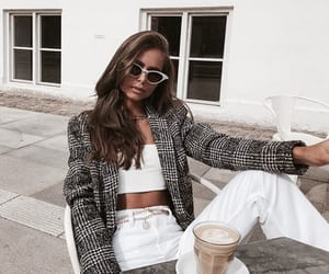blazer, white jeans, and white top image