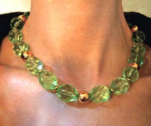 bead necklace, light green, and lucite image