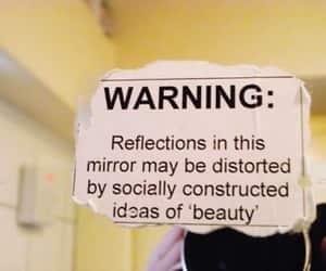 beauty, mirror, and warning image