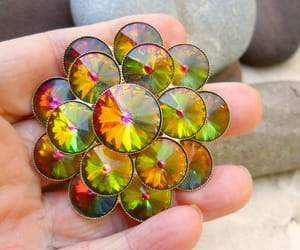 etsy, vintage brooch, and orange yellow green image