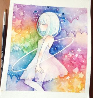 Cartoon Manga And Anime Girl In White Dress On Colorful Rainbow Background
