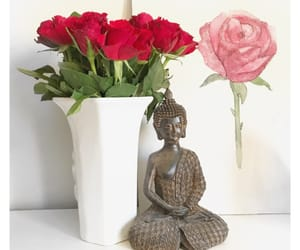 Buddha, flowers, and painting image