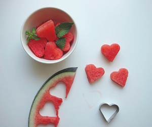 watermelon, heart, and fruit image