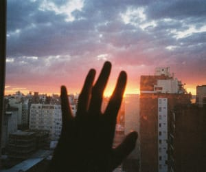 sky, sunset, and hand image