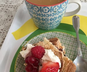 berries, cake, and coffee image