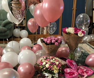 baloons, birthdaygirl, and flowers image