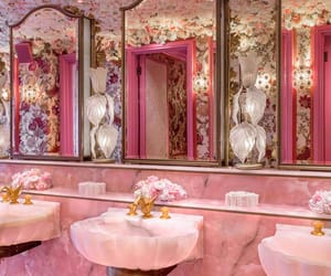 pink, bathroom, and rose image
