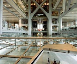 architecture, Bank, and escalator image