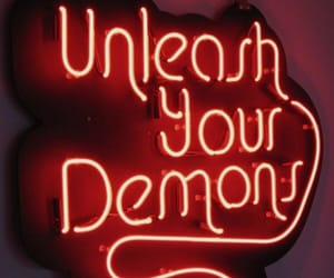 demons, neon sign, and red image