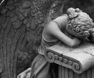 angel, black and white, and sad image