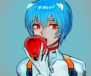 anime girl, apple, and ayanami rei image