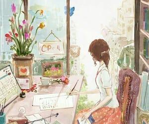 desenho, menina, and imaginação image