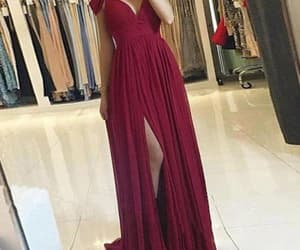 evening dress, prom dress, and burgundy dress image
