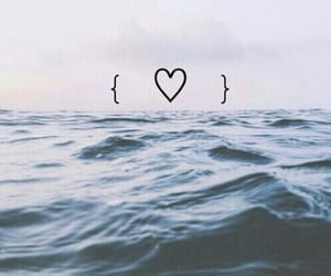 heart, sea, and ocean image