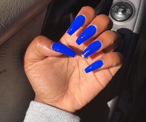 acrylic, blue nails, and coffin image
