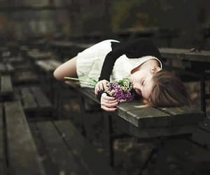 girl, alone, and flowers image