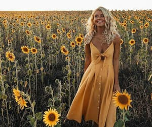 dress, sunflower, and fashion image