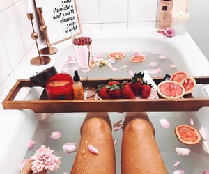 bath, relax, and flowers image