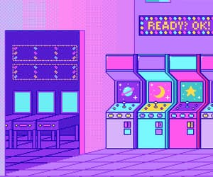 pink, purple, and pixel image