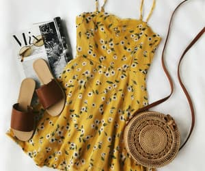 yellow, bag, and dress image