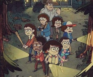 stranger things, gravity falls, and netflix image