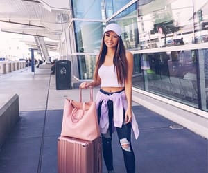 airport, bag, and pink image