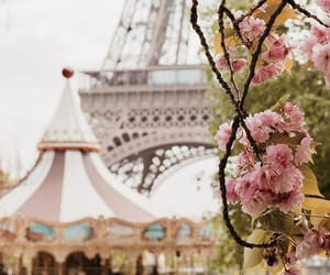 carousel, eiffel tower, and flowers image
