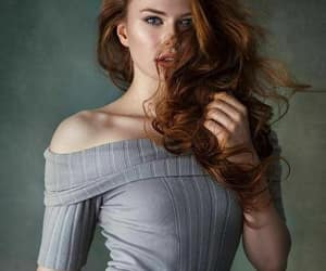 redhead grey sweater image