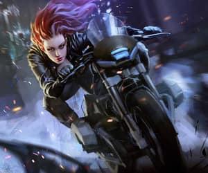 cyberpunk motorcycle and redhead biker image