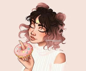 girl, art, and donuts image