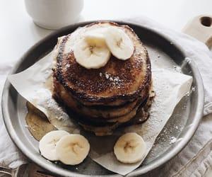 pancakes, banana, and breakfast image