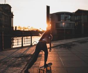 skate, skateboarding, and sunrise image