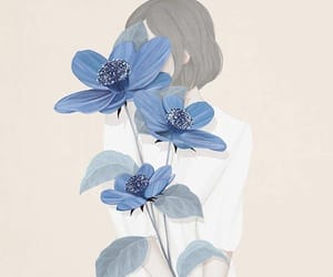 flowers, art, and blue image