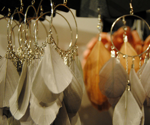 feather, earrings, and accessories image