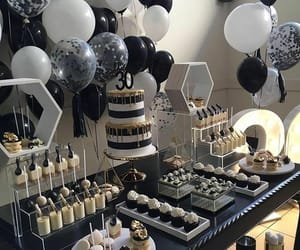 balloons, black and white, and birthday image