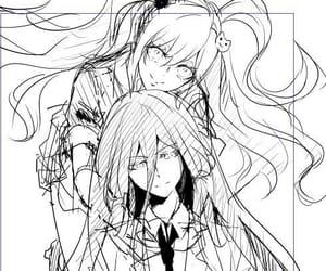 manga, junko enoshima, and monochrome image