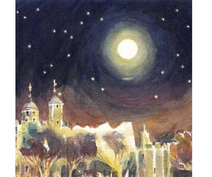 art, moonlight, and christmas gift image