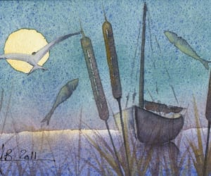 art, close, and moonlight image