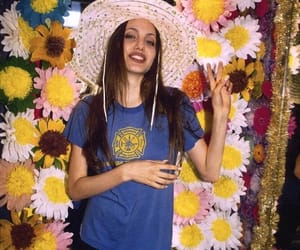 90s, Angelina Jolie, and flowers image