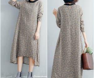 floral dress, loose dress, and linen dress image