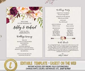 etsy, wedding program, and instant download image