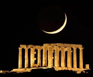 moon, night, and Greece image