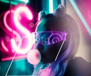 neon, photography, and pink image
