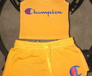 champion, outfit, and yellow image