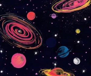 art, drawing, and planets image