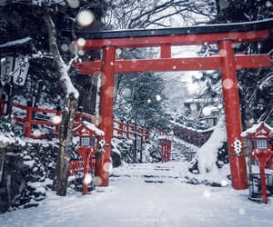 japan, kyoto, and snow image